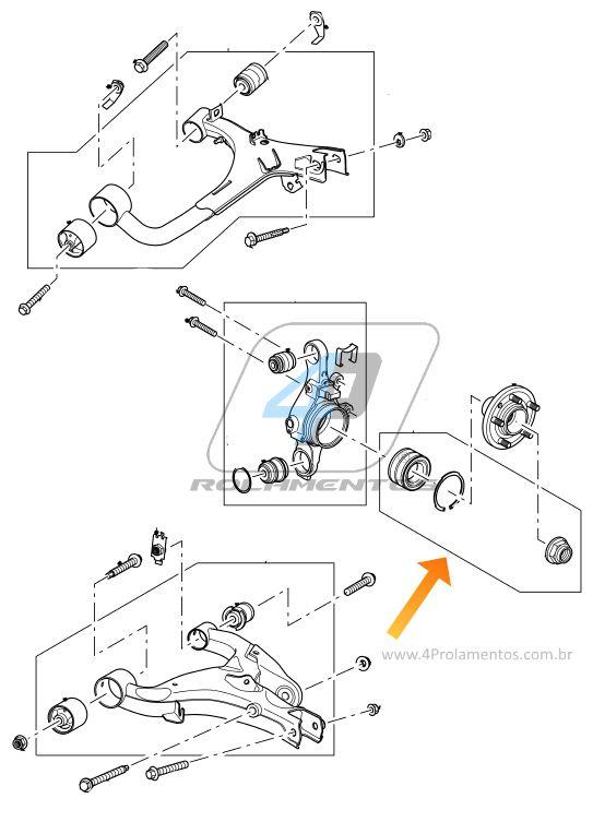 Rolamento de Roda Traseira LAND ROVER Discovery 4 2010 até 2017 4X4 e com ABS