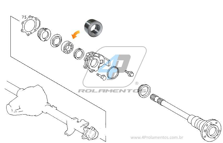 Rolamento de Roda Traseira MERCEDES BENZ Sprinter 1997-2013 Eixo HLO