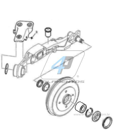 Rolamento Roda Traseira PEUGEOT 207 2007 até 2014, tambor, sem ABS