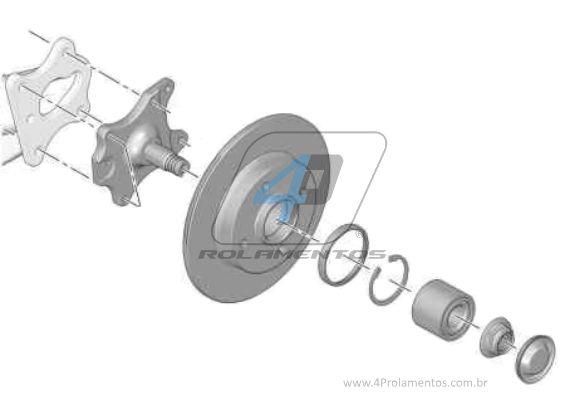 Rolamento de Roda Traseira PEUGEOT 307 2000 até 2006, sem ABS