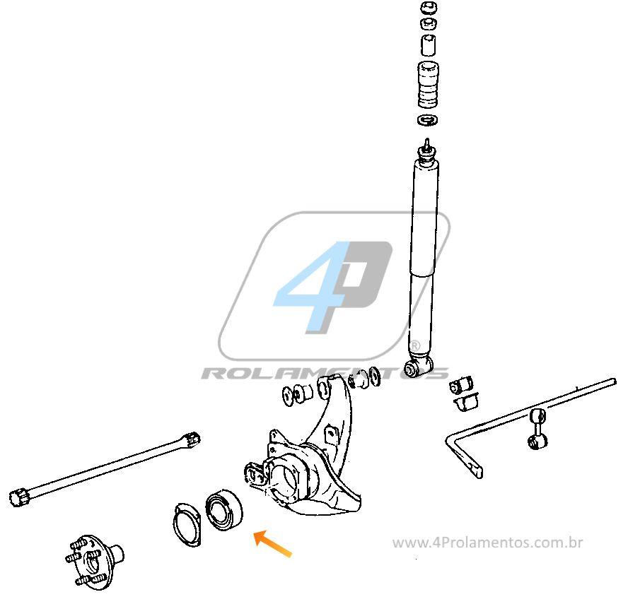 Rolamento de Roda Traseira PORSCHE Boxster 1999 até 2002
