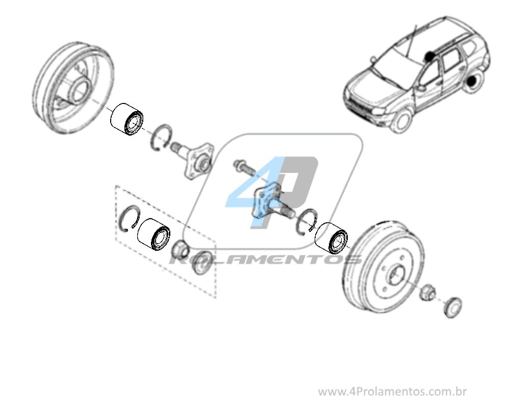 Rolamento de Roda Traseira RENAULT Duster 2010-2019, 4x2