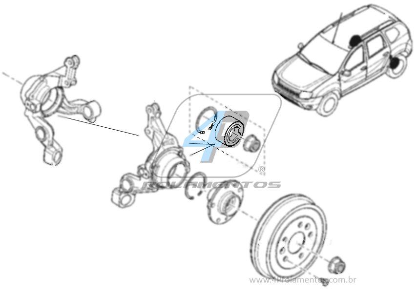 Rolamento de Roda Traseira RENAULT Duster 2010 até 2019, 4WD