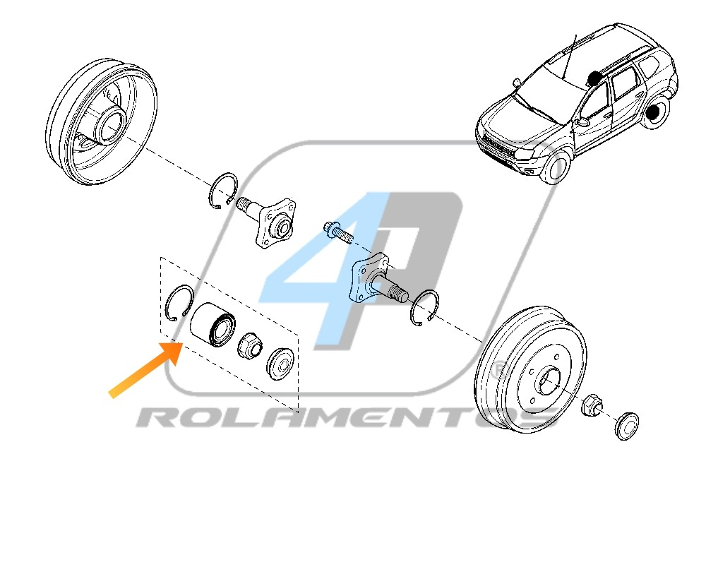 Rolamento de Roda Traseira RENAULT Duster 2010 até 2019, 4x2