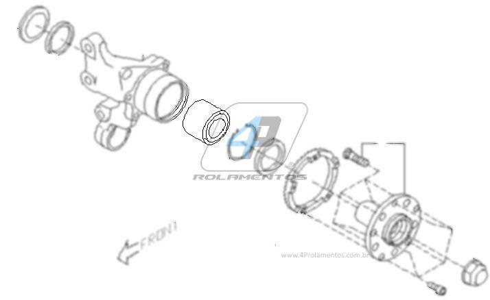 Rolamento de Roda Traseira SUBARU Forester 1998 até 2007, AWD