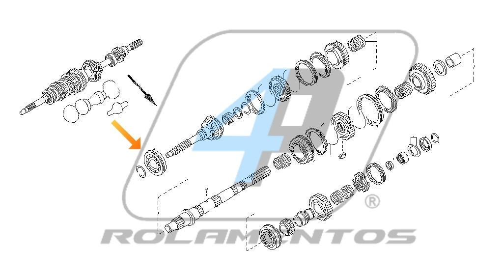 Rolamento Eixo Piloto Cambio Nissan Frontier 1998 até 2001