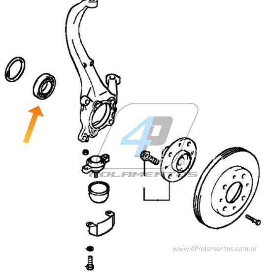 Rolamento Roda Dianteira HYUNDAI Coupe/Tiburon 2001 até 2009