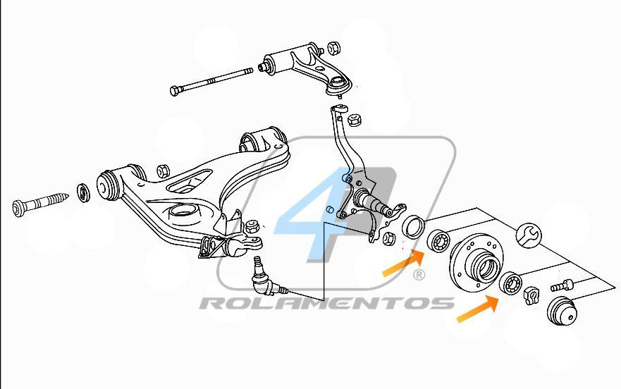 Rolamento Roda Dianteira Mercedes Benz Classe E de 1984 até 1997