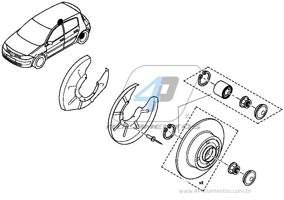 Rolamento Roda Traseira Renault Scenic 2003 até 2009