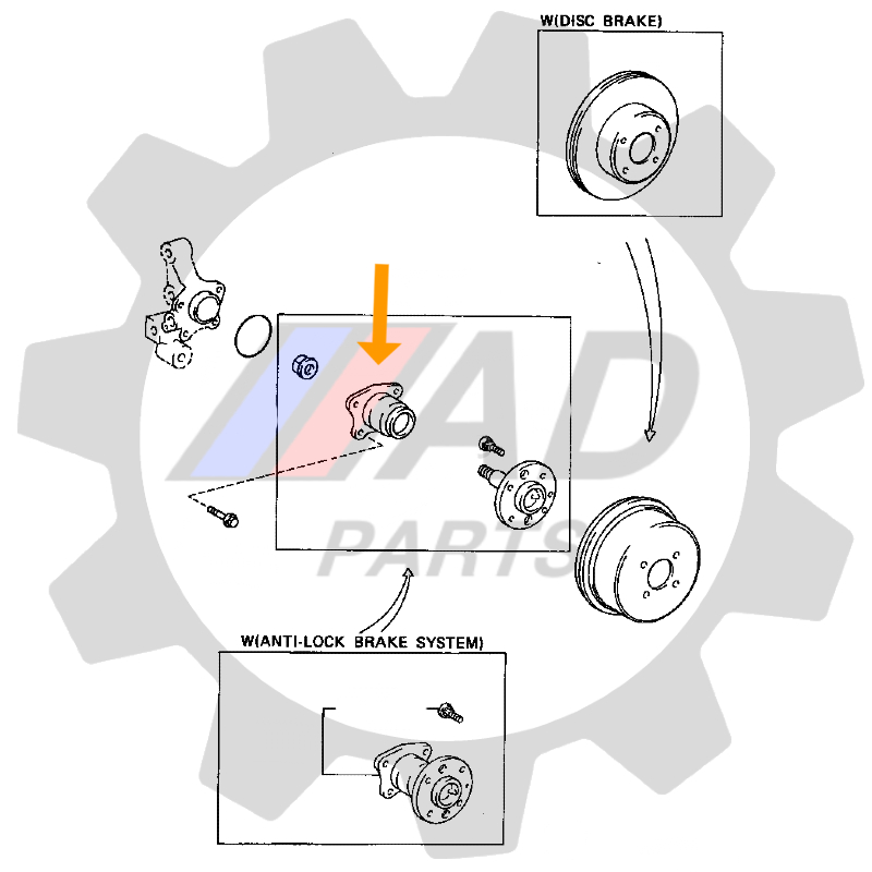 Rolamento Roda Traseira TOYOTA Corona 1997 até 2003 com ABS