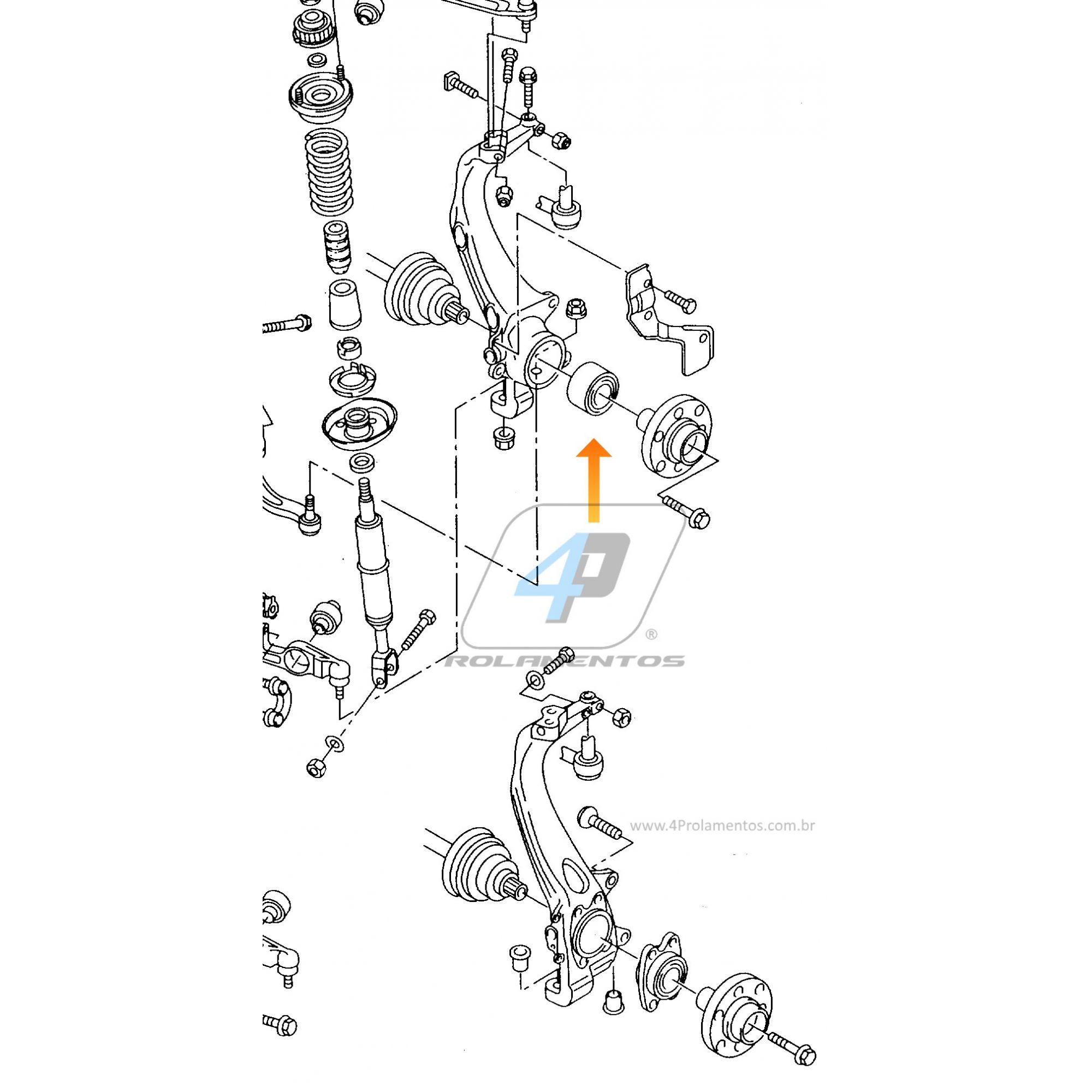 Rolamento RodaVW Passat 1996 até 2005, 82mm