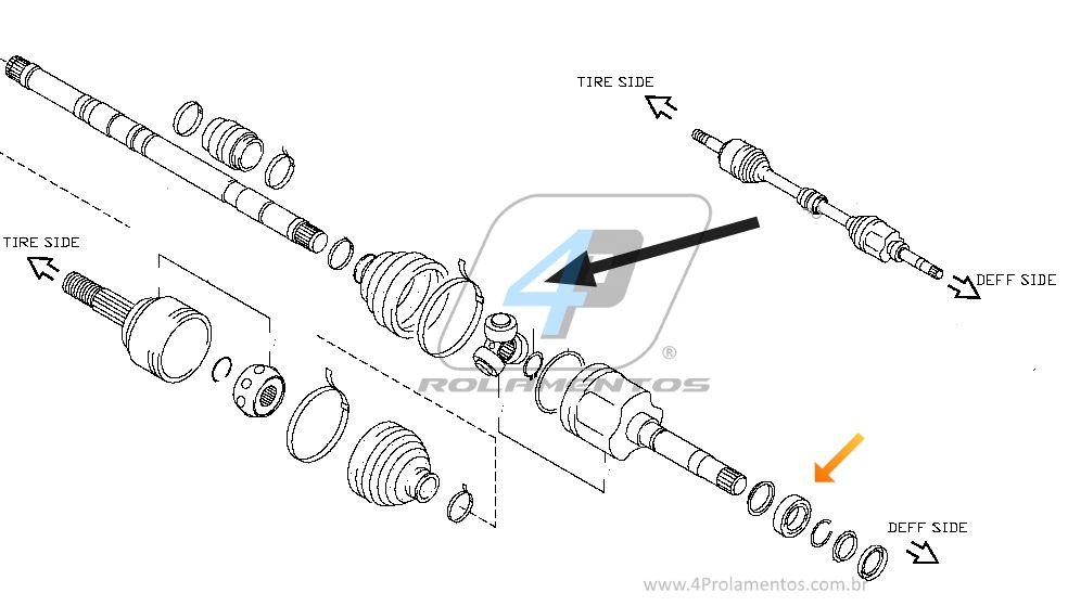 Rolamento Semi Eixo Renault Duster de 2011 até 2016