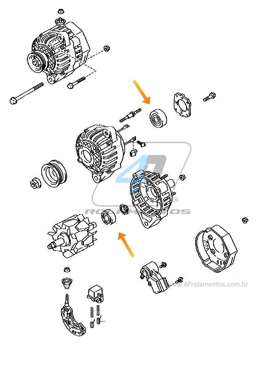 Rolamentos Alternador TOYOTA Corolla 1991-1997