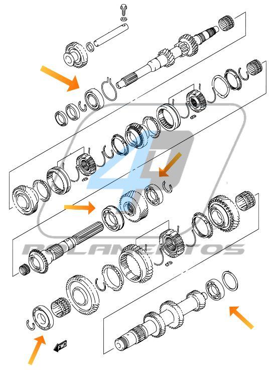Rolamentos Caixa de Cambio SUZUKI Jimny de 2008 até 2019