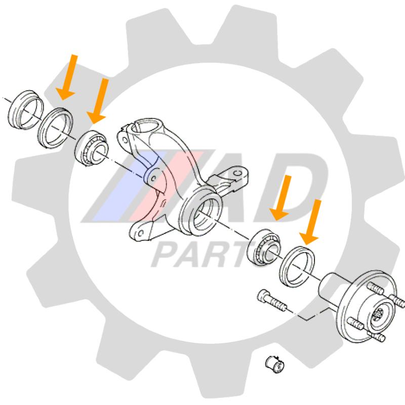 Rolamentos de roda dianteira Ford Escort de 1986 até 1993