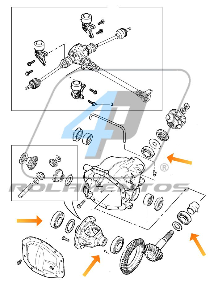 Rolamentos Diferencial Traseiro Land Rover Evoque 2011 até 2014