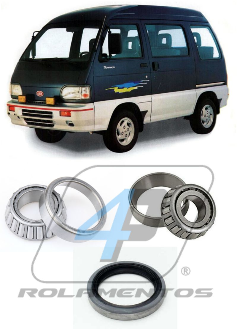 Rolamentos e Retentor Roda dianteira ASIA Towner 1993 até 1999