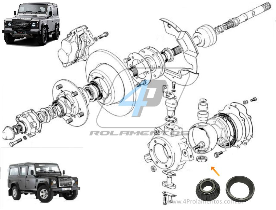 Rolamento Pino Manga do Eixo LAND ROVER Defender 1990-2015