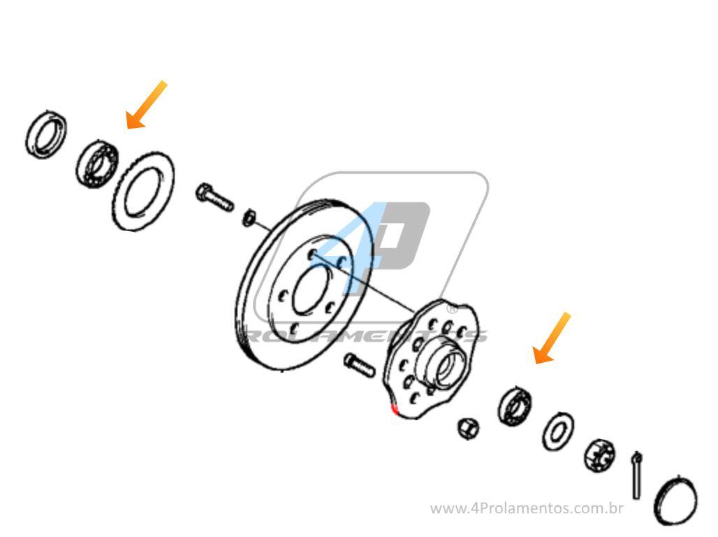 KIt Rolamentos Roda Dianteira Hyundai H-1 Starex 1997-2006