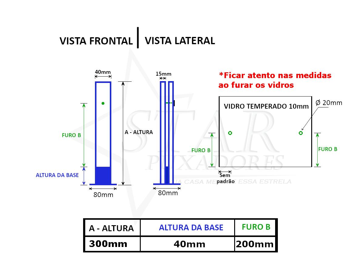 Coluna Torre 30 Cm - 1 Furo - Preta - Aço Inox 304 - v.10