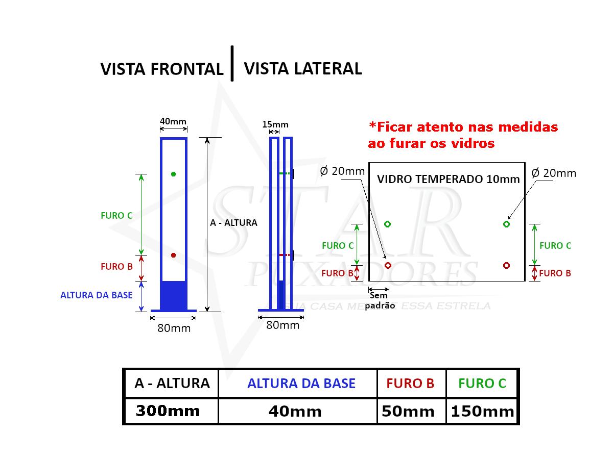 Coluna Torre 30 Cm - 2 Furos - Escovada - Aço Inox 304 - v.10