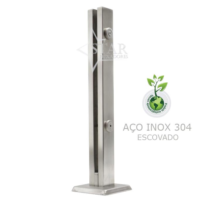 Coluna Torre 40 Cm - 2 Furos - Escovada - Aço Inox 304 - v.10
