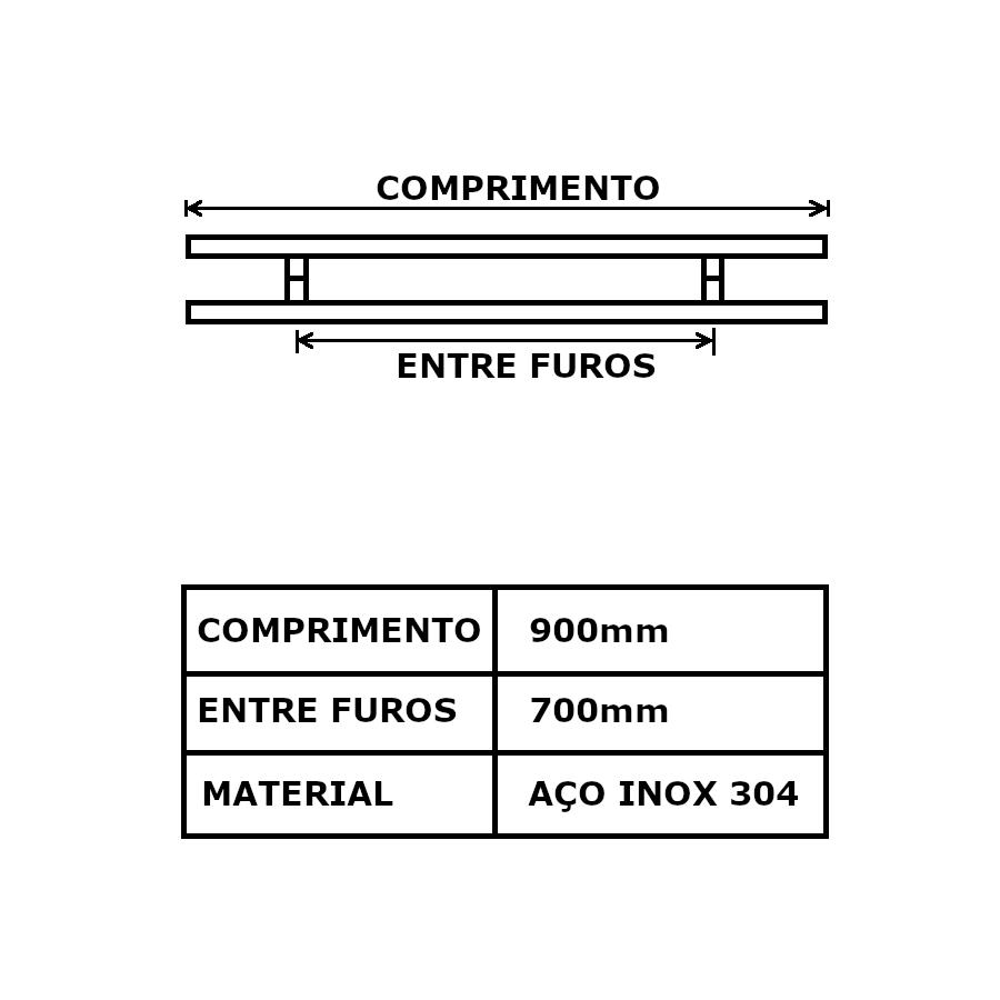 Puxador de porta - 90cm Polido (Duplo - Aço Inox 304)