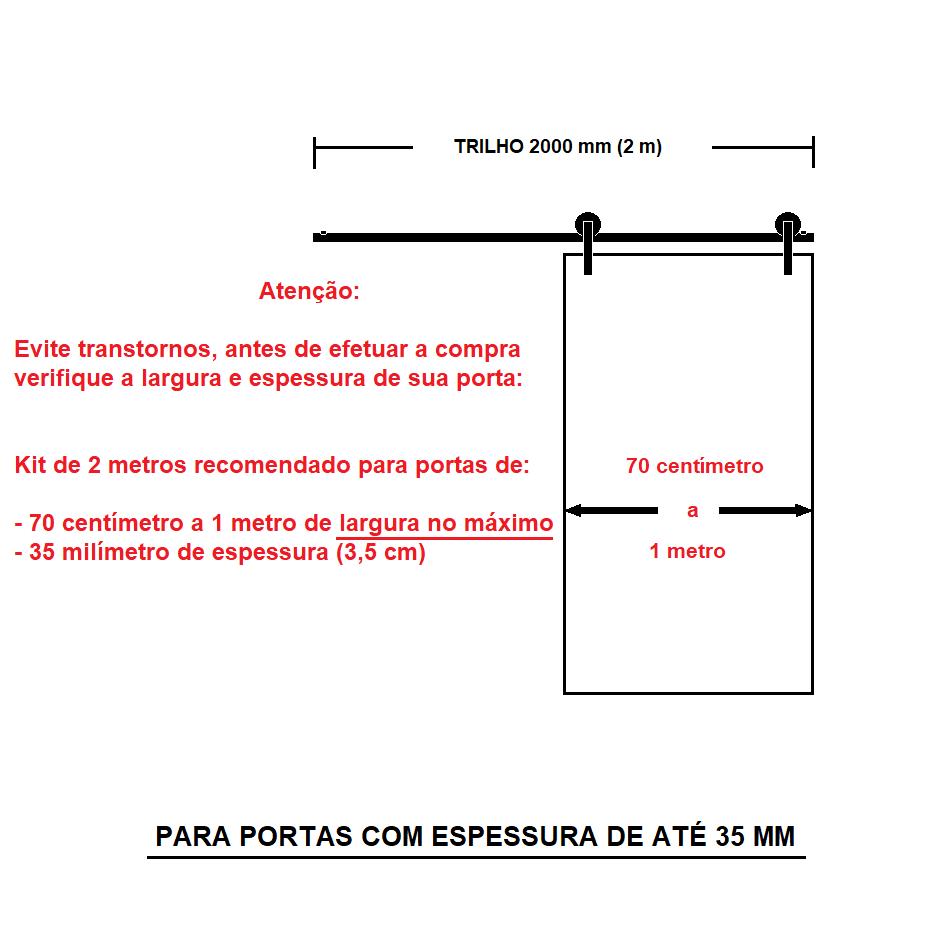 Trilho 2 Metros Polido - Alumínio - Correr Roldana Aparente - Kit