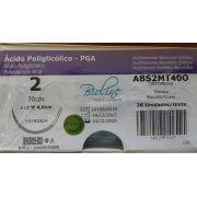 FIO POLIGLICOLICO PGA ABS 2 AG1/2 TC COR 4,0 70 CM CX COM 36 UNIDADES