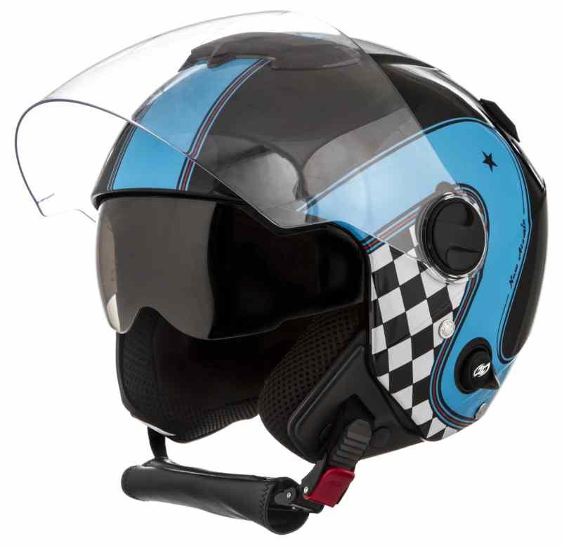 Capacete Moto Custom New Atomic Vintage Preto Azul 8859878f6d9