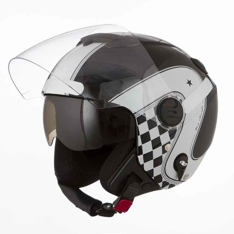 Capacete Moto Custom New Atomic Vintage Preto Branco 0b1050856ff