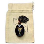 Amuleto Rúnico Proteção Ágata Negra - Algiz