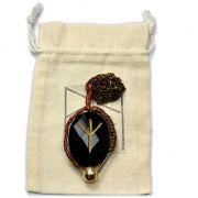 Amuleto Rúnico Proteção Ágata Negra com Pedra Vulcânica- Algiz