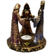 Castiçal Círculo Deusa Tríplice - Dourado