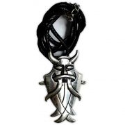 Colar Banhado a Prata - Deus Odin Barba e Chifre