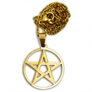 Talismã Colar Pentagrama - Dourado Médio de Aço