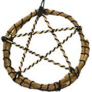 Pentagrama de Bambu e Junco - com turmalina negra mod.2