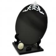 Espelho Negro com Base - Turmalina Negra e Pedra da Lua