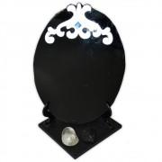 Espelho Negro com Base - Turmalina Negra e Quartzo de Cristal mod. 1
