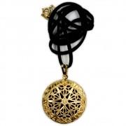 Aromatizador Pessoal Mandala - Dourado com Cordão de Couro Sintético