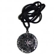 Aromatizador Pessoal Mandala - Prata Velho com Cordão de Couro Sintético