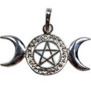 Talismã de Prata 950 - Triluna Pentagrama com Runas