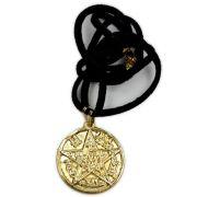 Talismã Colar Tetragramaton - Dourado com cordão de couro sintético