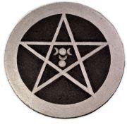 Pentáculo 10cm - Deusa e Deus Prata