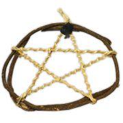 Pentagrama de Bambu e Junco - com turmalina negra mod.1