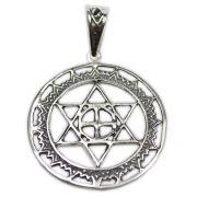 Pingente de Prata de Lei (prata 950) - Mandala Hexagrama