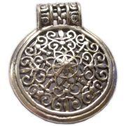 Pingente em Bronze Banhado a Prata - Mandala
