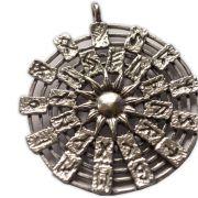 Pingente em Bronze Banhado a Prata - Sol e Runas