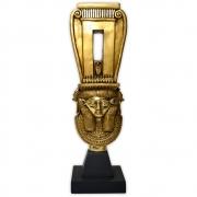 Réplica Museu Egípcio - Sistro com Hathor Dourado