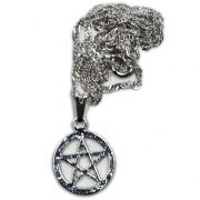 Talismã Colar Pentagrama, Proteção - Prateado Mini